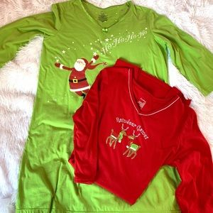 2 Christmas night gowns sleepshirts 3/4 sleeve S/M